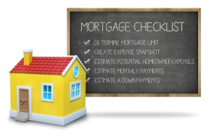 Mortgage checklist concept on blackboard with 3d house front of blackboard on white background
